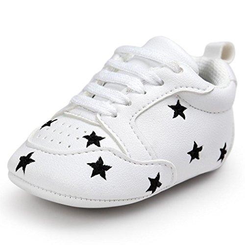 FNKDOR Baby Sternchen Schuhe Jungen Mädchen Weiß Lauflernschuhe Krabbelschuhe, 0-18 Monate (0-6 Monate, Schwarz) (Baby Schuhe Weiße)