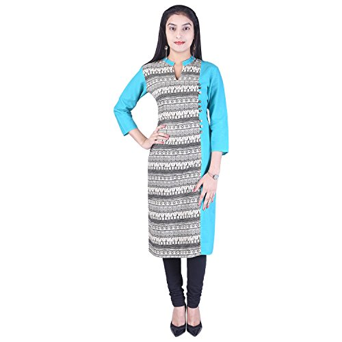 PiSHA Cotton Printed V-Neck Straight 3/4th Sleeve Grey-Turquoise Women's Casual&Party Wear Kurti