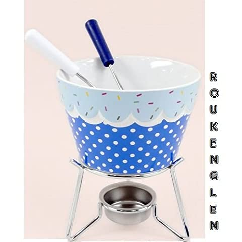 Ceramic Chocolate Cheese Blue Fondue Set withStand & 4 Stainless