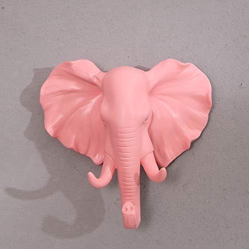 Gu3Je Wand An der Wand befestigter Tierkopfschlüssel Kleiderhaken geben lochendes Wohnzimmer frei Elefantenpuder -