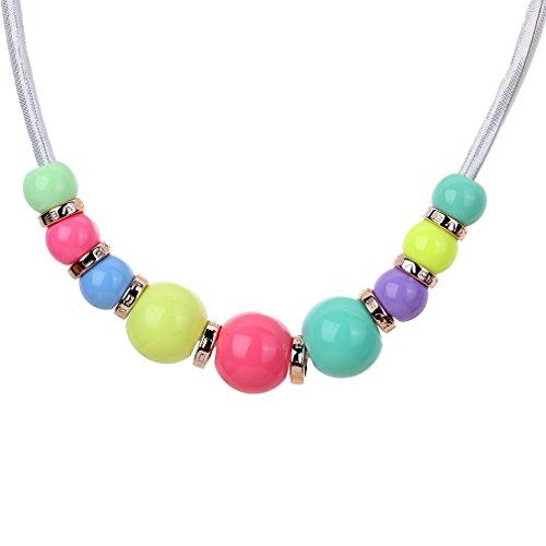 Yazilind Chaîne Collier Perles Acrylique coloré élégant Jewelry Collier Bavoir blanc