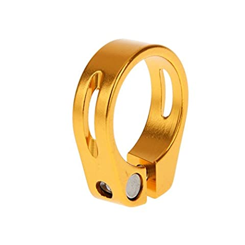 Aluminium 31.8mm/34.9mm Quick Release Mountain Bike Seatpost Clamp for 30.8mm/31.6mm/27.2mm Seatpost - Gold, 34.9 mm