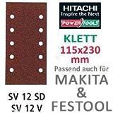 Hitachi–753063Schleifpapier Blatt für Schwingschleifer 115x 230mm Körnung 80mit Klett (10)