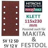Hitachi - 753063 - Papel de lija para lijadoras orbitales 115x230 mm grano 80 con Velcro (10 ud.)