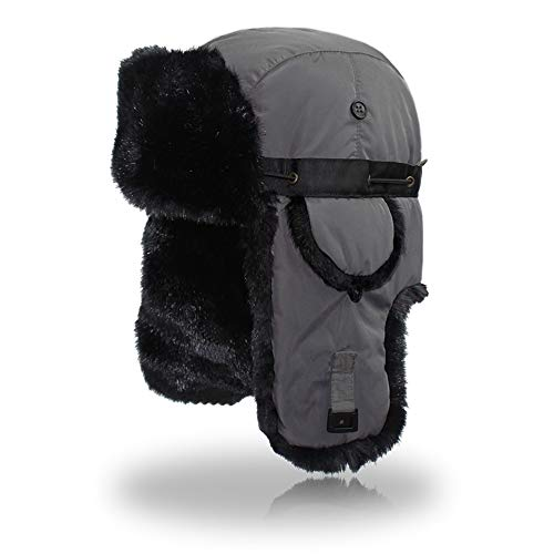 Outfly Ushanka Trapper Russland Hut Faux Pelzmütze mit Earflap Winter,Grau Trapper Ski
