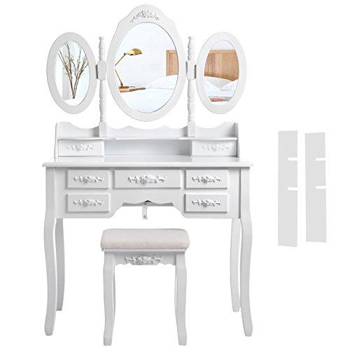 2 Stück Moderner Stuhl (Songmics weiß luxuriös Kippsicherung Schminktisch mit 3 spiegel und hocker, 7 schubladen inkl. 2 Stück Unterteiler, Kippsicherung, 145 x 90 x 40 cm RDT91W)