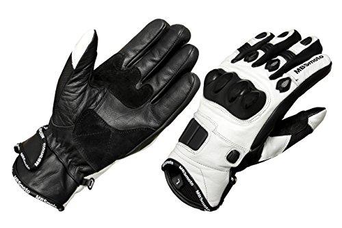 mbsmoto Bike Sport Cruiser Leder Motorrad Handschuhe, weiß