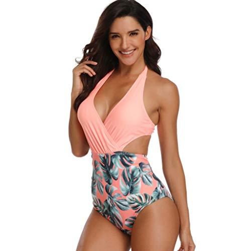 Bfmyxgs Stilvolle Sommer Beachwear für Frauen Mädchen Sexy Halter Einteilige Badebekleidung Gepolsterte Floral Lace-up-Print Rückenfrei Bikini Mode Badeanzug Sexy Bodysuits Monokini Bade Tankini