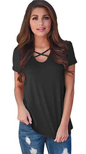 szivyshi Sexy Manches Courtes Criss Cross Strap Bretelles Devant à Fleurs Spliced Dos Color Block T-Shirt Tee Haut Top Noir