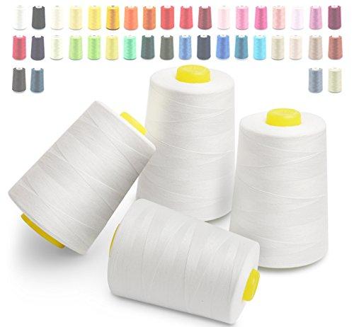 Hilos de coser de poliéster Cubewit 4 PCS hilo de coser para la máquina de coser - 28000 yardas (Blanco)
