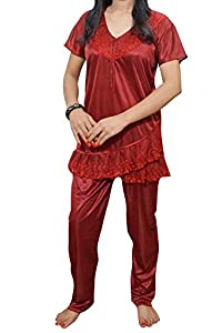Indiatrendzs Stylish Women Satin Night Suit With Lace Work Pyjama set  (Maroon) 022b610fb