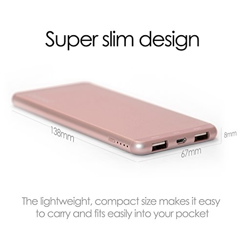 POWER BANK Portable Charger [Desire2 Charge Anywere] 5000 mah super lightweight slim LITHIUM POLYMER Battery with 2 x 2.4 AMP USB outputs Suitable for fast charging Tablets and Smartphones iphone 7, 7plus, 6, 6S, 5, 4, 4S, Samsung S5, S6, S7, Sony, Huawei, LG, Motorola and More - PRECISION ALUMINIUM ALLOY ROSE GOLD