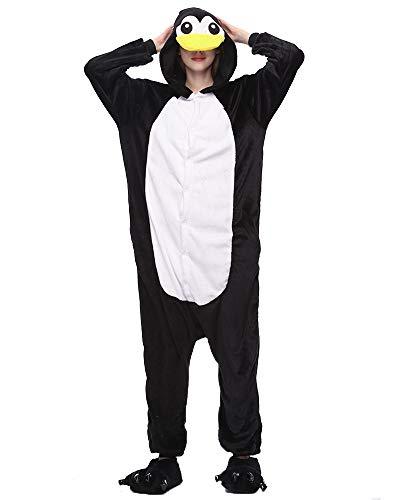 Moollyfox kigurumi pigiama unisex costume party halloween flanella sleepwear black penguins s