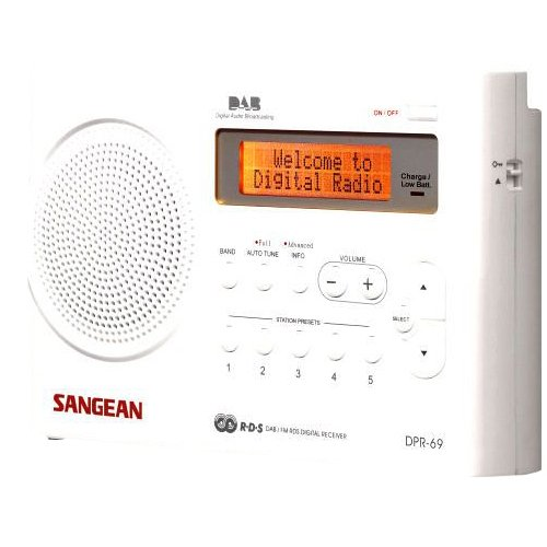 Sangean DPR-69+ tragbares DAB+ Digitalradio (UKW-Tuner, Batterie-/Netzbetrieb) weiß