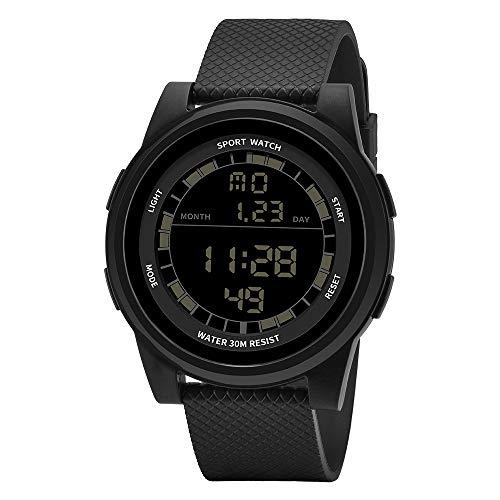 Digitale Sportuhr, wasserabweisend, elektronisch, ultradünn, wasserdicht, LED, Militär-Hintergrundbeleuchtung, Schwarz