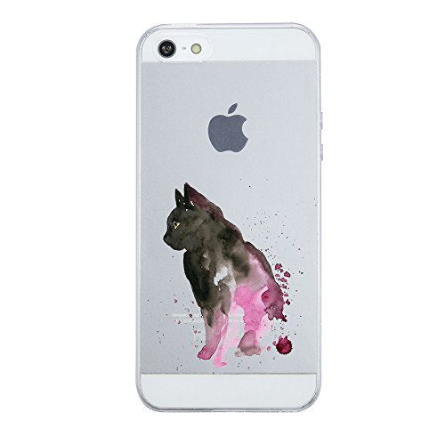 Coque iPhone 5/5S/SE,Vanki® Motif Totem loup Housse Transparente Housse TPU Souple Etui de Protection Silicone Case Soft Gel Cover Anti Rayure Anti Choc pour Iphone5/5S/SE 7
