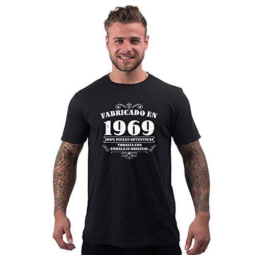 Bang Tidy Clothing Camiseta de Hombre para Regalo de 50 cumpleaños Manufactured 1969 en Negro Talla XXL