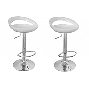 Lot de 2 tabourets de bar design cosmo blanc acier - Sgabelli cucina amazon ...
