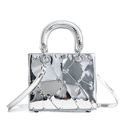 GJ Crossbody-Tasche - weibliche Schultertasche Portable PU-Silber-Freizeit-Tasche Fashion Lady Bags