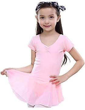 Feoya Mädchen Balletttrikot Kurzarm Ballettkleid Ballettanzug Gymnastikanzug Ballettröckchen Tanzleotard
