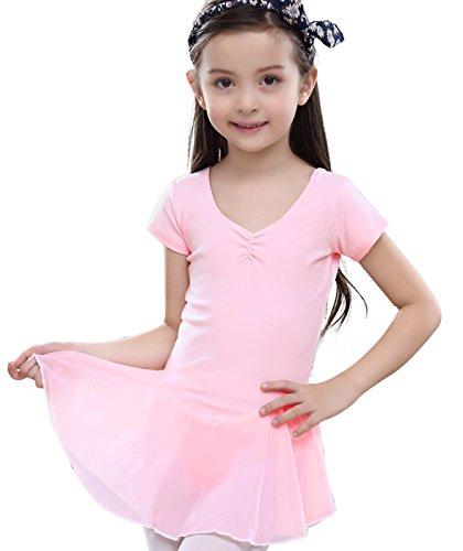 Wie Man Ballett-tutu (Feoya Mädchen Balletttrikot Kurzarm Ballettkleid Ballettanzug Gymnastikanzug Ballettröckchen Tanzleotard-Rosa)
