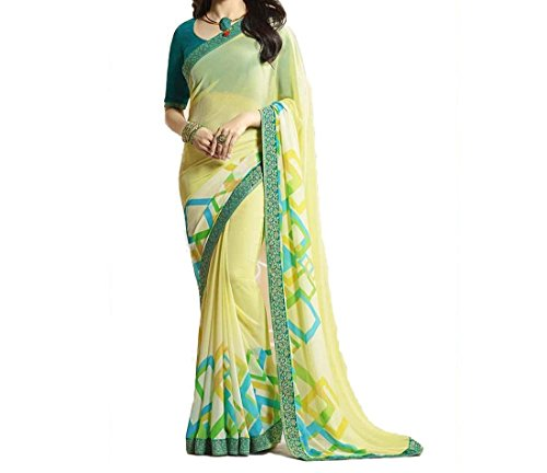 Ruchika Fashion Georgette Saree With Blouse Piece(Isha-Yellow_Yellow Free Size)