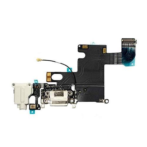 E-Fix - Connecteur de Charge pour iPhone 6 Blanc - Cables Nappe avec Connecteur de Charge, Prise Jack, Micro et l'antenne GSM - Compatible avec Apple pour réparation