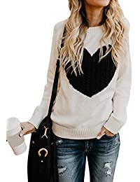 caa92104cf9 ... Off-White. shermie Women Causal Heart Jumpers Cable Knitted Crewneck  Cute Pullover Sweater