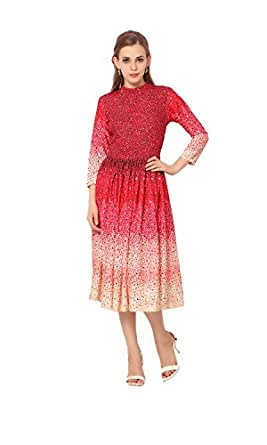 Ziyaa Red Colored Printed Crepe Kurti