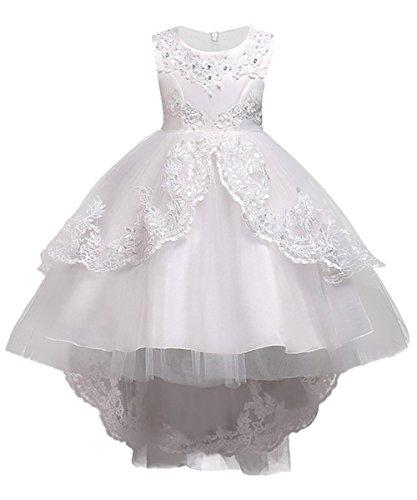 Kinder Tüll Hochzeitskleid Brautkleid mit Blumenstickerei knielang Weiß Gr.140