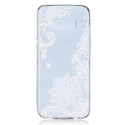 MUTOUREN TPU coque pour Samsung Galaxy S8 Plus silicone transparent Crystal cover case protection Anti-poussière housse etui Anti-shock case étanche Résistante Très Légère Ultra Slim cas Soft bumper doux Couverture Anti Scratch-lotus blanc