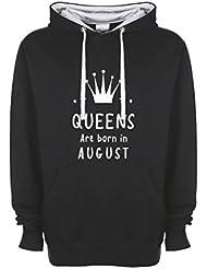 Queens Are Born In August Fun Birthday Logo Qualità Superiore Sudadera con Capucha Unisex