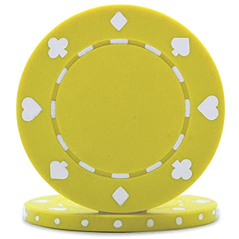 High Quality Suited Poker Chips - Yellow (Roll of