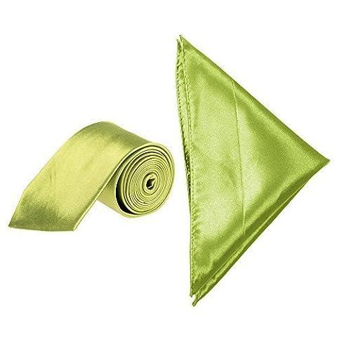 "Men's Satin 3"" Classic Tie and Pocket Handkerchief Set (Apple"