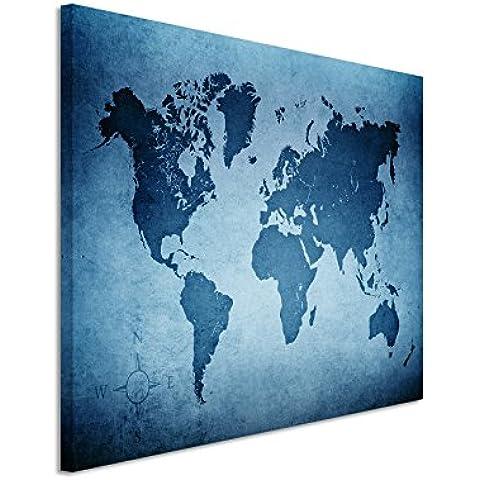 120x 80cm Cuadro–Color Azul Petróleo–Lienzo en Bastidor en la mejor calidad–Mapamundi Antiguo