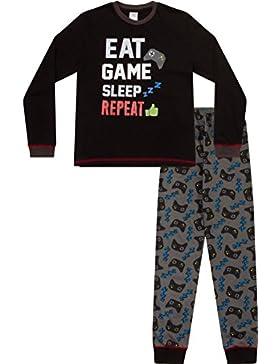 Niños comer dormir juego repetición controlador larga pijama 8A 15años AOP