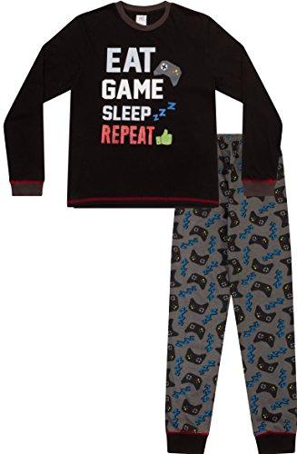 """Pijamas largos con texto en inglés """"Eat Sleep Game Repeat"""", para niños, de 8 a 15 años AOP Negro negro 12-13 Años"""