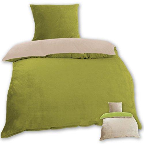 Wende-Bettwäsche Cashmere Touch Plüsch mit und ohne Daunen Federfüllung, Bettdecke 135x200 cm + Kissen 80x80 cm, gemütlich und weich in vielen erhältlich (grün - beige)