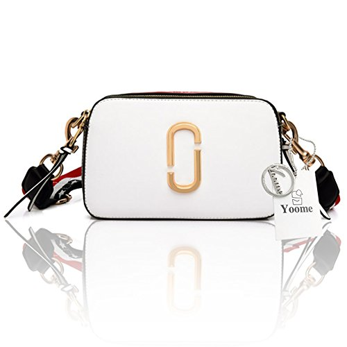 Stile di strada di Yoome Stringa di colore piccolo contrasto per le donne Tote con chiusura lampo New Chic Bags Crossbody - Bianco bianca
