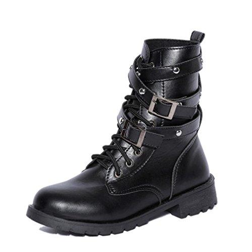 Hffan Frau Cool Weich Wohnung Knöchel Martin Schuhe Weiblich Wildleder Schnüren Stiefel Worker Boots Schnürstiefeletten in Schwarz flache stiefel stiefeletten günstig Bikerstiefel (EU:38) (Wildleder Wohnungen Schwarz Schuhe)