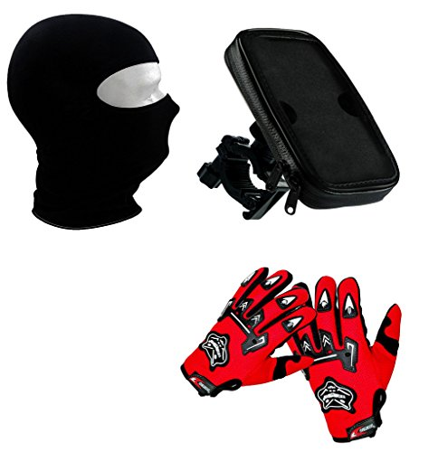 Auto Pearl Premium Quality Bike Accessories Combo Of Balaclava Black Face Mask For Bike Riding Sunscreen Dust Proof Mask. & Waterproof Bikes/Bicycle Handlebar Mount Holder Case(Upto 5.5 inches) For Cell Phone. & Knighthood Hand Grip Glove Red 1 Pair.  available at amazon for Rs.1303
