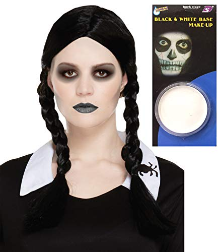 Labreeze parrucca da figlia spaventosa intrecciata, base per trucco, per halloween e travestimenti