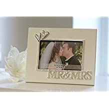 Marco De Fotos Marco de Cuadro Moderno Marco de fotos de boda fabricado en aluminio blanco/plata 10x15 cm