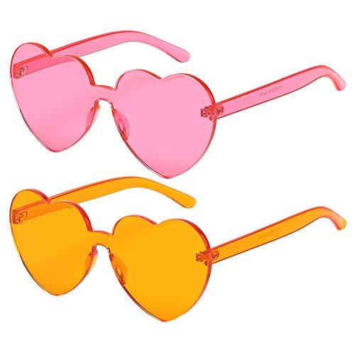 Lolitarcrafts 2 Stück herzförmige Sonnenbrille Candy Farbe Hippy Vintage Sonnenbrille Brillen für Kostümzubehör, Party Cosplay (Pink and Orange)
