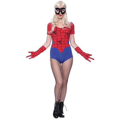 Rot-Blau Damen Kostuem Super Hero Superheldin Halloween Mottoparty Karneval (Batgirl Cosplay Kostüme)
