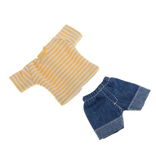 Baoblaze Hübsche Puppe gestreifte T-Shirt & Jeans Hose Bekleidung Für 1/12 BJD Modepuppe Zubehör - Gelb