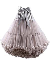 FOLOBE Adulte Luxueux en Mousseline de Soie en Mousseline Tulle Jupe Tutu Femmes de Tutu Costume Petticoat Danse de Ballet Multicouche Jupe Bouffante