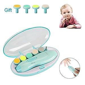 Elektrische Baby Nagelfeile, Maniküre & Pediküre Nagelpflege Set 10 in 1 Nagelfeile mit LED- Licht für Babys, Kleinkind, Erwachsene, gesund und Sicher, macht baby fröhlich (Batterien NICHT inklusive)