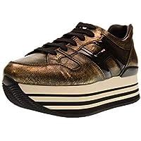 Hogan Scarpe S0neakers Running da Donna Maxi Platform H222 Nero Oro Casual  Sportive HXW2830T548JD81805 53005bf6f34