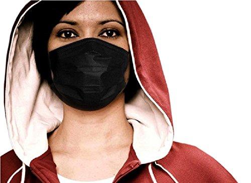 Bllomsem 7pcs Grippe Gesichtsmasken mit earloops Antivirus und -verschmutzung Schutz mit Thick Medical Grade 100% Baumwolle Non Woven Gewebe Design Schwarz